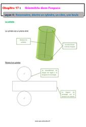 Reconnaitre, décrire un cylindre, un cône, une boule – 6ème – Géométrie dans l'espace – Cours