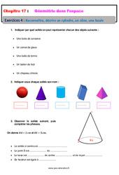 Reconnaitre, décrire un cylindre, un cône, une boule – 6ème – Géométrie dans l'espace – Révisions – Exercices avec correction