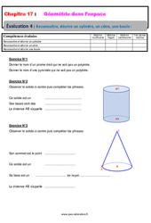 Reconnaitre, décrire un cylindre, un cône, une boule – 6ème – Géométrie dans l'espace – Evaluation avec la correction