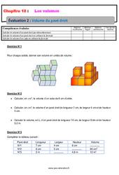 Volume du pavé droit - 6ème - Evaluation avec la correction