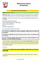 Les mesures de masses et décimaux – CM1 – CM2 – 6ème – SEGPA – EREA – Décrochage scolaire