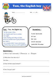 Tom, the English boy – Cm1 – Cm2 – Anglais – Lecture – Level 3