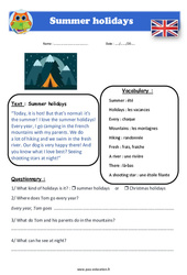 Summer holidays – Cm1 – Cm2 – Anglais – Lecture – Level 3