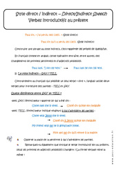 Style direct et indirect – Verbes introductifs au présent – 3ème – Cours
