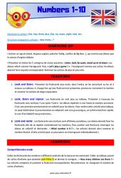 Numbers 1 to 10 - CE1 - CE2 - Anglais - Lexique - Séquence complète - Cycle 2