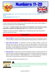 Numbers 11 to 20 - CE1 - CE2 - Anglais - Lexique - Séquence complète - Cycle 2