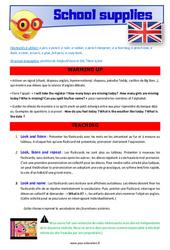 School supplies – CM1 – CM2 – Anglais – Lexique – Séquence complète – Cycle 3