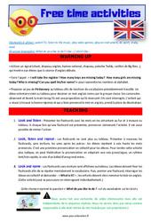 Free time activities – CE1 – CE2 – Anglais – Lexique – Séquence complète – Cycle 2