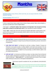 Months – CE1 – CE2 – Anglais – Lexique – Séquence complète – Cycle 2