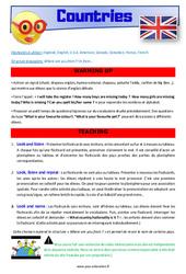 Countries – CE1 – CE2 – Anglais – Lexique – Séquence complète – Cycle 2