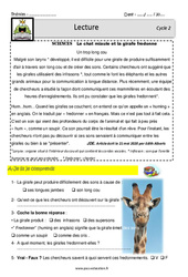 La girafe – Un trop long cou – CE1 – CE2 – Lecture – Documentaire (sciences) – EDL