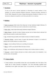 Matériaux - Structure et propriété - Terminale - Cours
