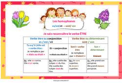 Les homophones es/est/et  – sont/ son - Cycle 2 - Cycle 3 - Affiche pour la classe