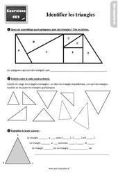 Exercices, révisions sur identifier les triangles au Ce2 avec les corrections