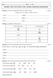Passer d'une écriture à l'autre – Décimale, fractionnaire – 6ème – Evaluation
