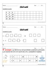 Calcul mental - Cm1 - Exercices et bilan - Semaine 1 à 4