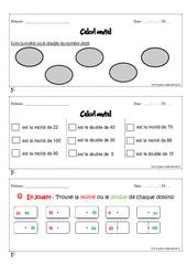 Calcul mental – Cm1 – Exercice et bilan – Semaine 9 à 12