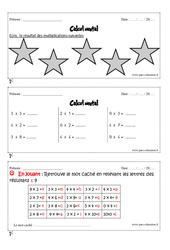Calcul mental - Cm1 - Exercices et bilan - Semaine 13 à 16