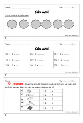 Exercice Calcul mental : CM1 - Cycle 3 - Pass Education
