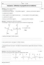 Définition et propriétés de la médiatrice – 6ème – Evaluation