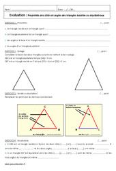 Propriétés des côtés et angles des triangles isocèles ou équilatéraux - 6ème - Evaluation