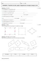 Propriétés des côtés angles et diagonales des rectangles losanges carrés – 6ème – Evaluation