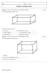 Pavé, parallélépipède – 6ème – Evaluation sur les solides – faces, arêtes, sommets