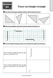 Exercices, révisions sur tracer un triangle rectangle au Ce2 avec les corrections