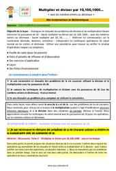 Multiplier et diviser par 10,100,1000… – CM1 – CM2 – 6ème – SEGPA – EREA – Décrochage scolaire