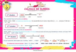 Calculs de durées au Cm1 - Cm2 - Affiche
