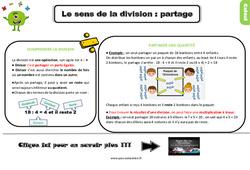 Leçon, trace écrite sur le sens de la division : partage au Ce2
