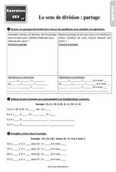 Exercices, révisions sur le sens de la division : partage au Ce2 avec les corrections