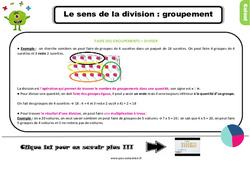 Leçon, trace écrite sur le sens de la division : les groupements au Ce2
