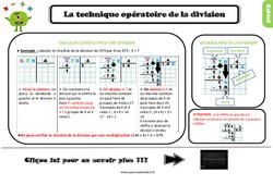 Leçon, trace écrite sur la technique opératoire de la division au Ce2