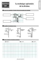 Exercices, révisions sur la technique opératoire de la division au Ce2 avec les corrections