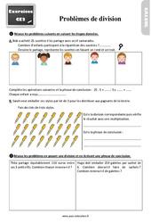 Exercices, révisions sur les problèmes de division au Ce2 avec les corrections