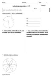 Cercle – Cm2 –  Bilan à imprimer