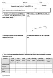Quadrilatères – Cm2 – Bilan avec le corrigé