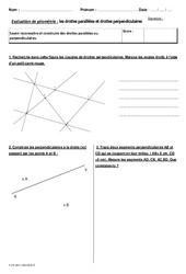 Droites parallèles et droites perpendiculaires - Cm2 - Bilan