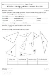Triangles particuliers - 6ème - Contrôle - Reconnaitre et construire