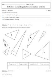 Reconnaitre et construire les triangles particuliers - 6ème - Evaluation