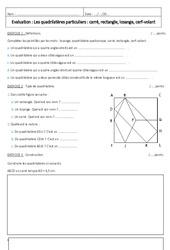 Carré, rectangle, losange, cerf volant – 6ème – Evaluation sur les quadrilatères particuliers