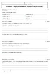 Appliquer un pourcentage – Proportionnalité – 6ème – Evaluation