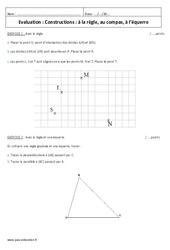 Constructions à la règle, compas, équerre – 6ème – Contrôle