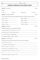 Opérations sur les nombres relatifs – Additionner deux nombres relatifs – 5ème – Contrôle