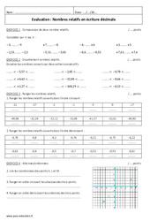 Ecriture décimale – Nombres relatifs – 5ème – Evaluation