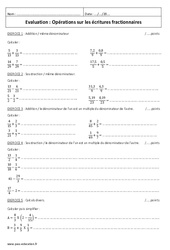 Ecritures fractionnaires – 5ème – Evaluations sur les opérations