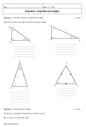 Propriétés des triangles – 5ème – Contrôle