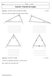 Triangles – 5ème – Evaluation sur les propriétés