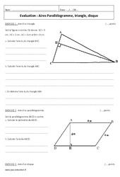 Aires – 5ème – Contrôle – Parallélogramme, triangle, disque